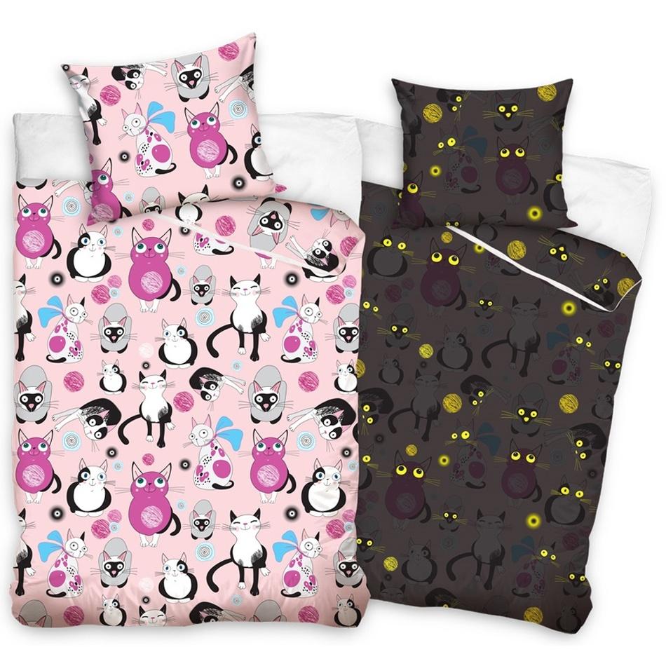 Tip Trade Dětské bavlněné svíticí povlečení Kočky růžová, 140 x 200 cm, 70 x 80 cm