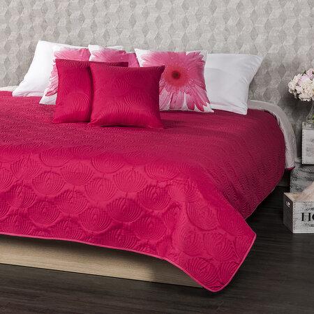 4Home Prehoz na posteľ Doubleface ružová/sivá, 220 x 240 cm, 2x 40 x 40 cm