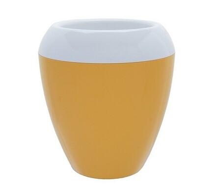 Plastia Calimera plastový květináč samozavlažovací žlutá a bílá