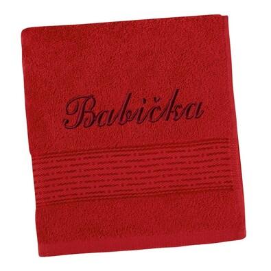 Ručník s výšivkou Babička červená, 50 x 100 cm