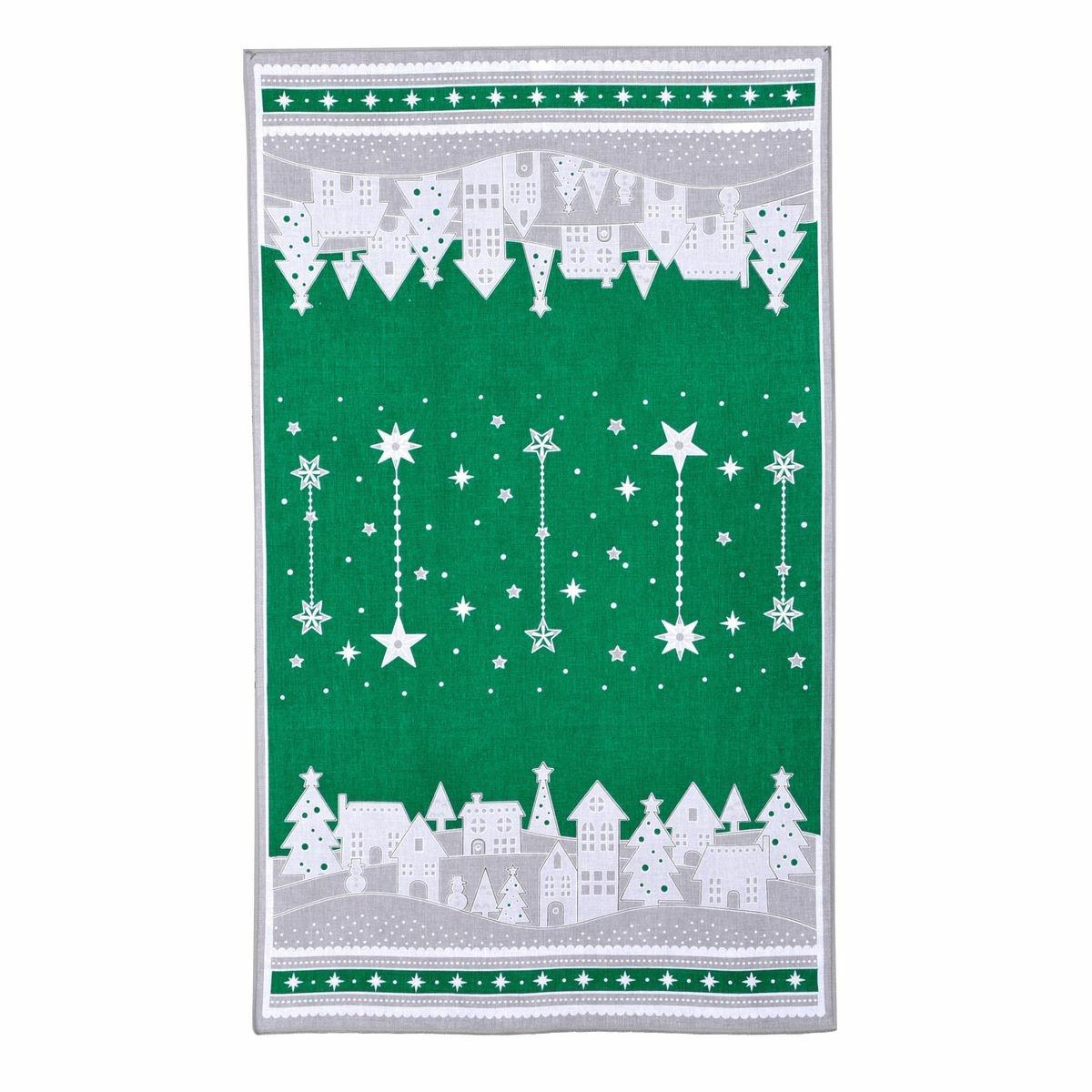 Forbyt Vánoční utěrka Zimní vesnička zelená, 45 x 70 cm