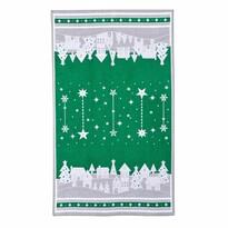 Téli kisfalu karácsonyi törlőruha, zöld, 45 x 70 cm