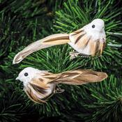 Vánoční ozdoba ptáček, hnědá