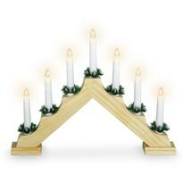Karácsonyi gyertyadísz Candle Bridge barna, 7 LED