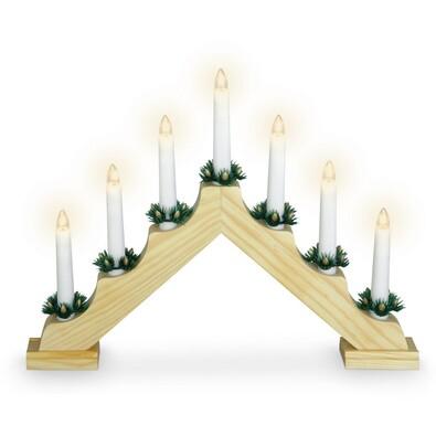 Sfeşnic de Crăciun Candle Bridge, maro, 7 LED