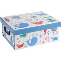 Pudełko dekoracyjne Hatu Wieloryb niebieski, 37 x 30 x 16 cm