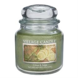 Village Candle Vonná svíčka Citrusy a šalvěj - Citrus & Sage, 397 g
