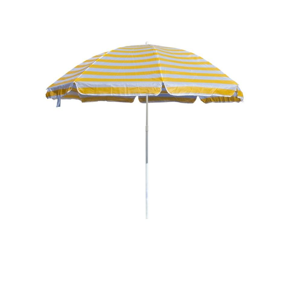 Slunečník plážový 180 cm, Happy Green, žluté pruhy