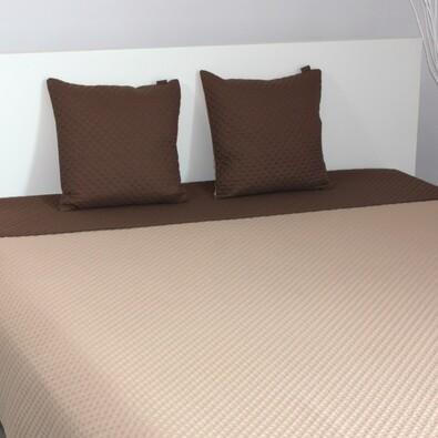 Přehoz na postel Laurine tmavě hnědá a béžová, 220 x 240 cm