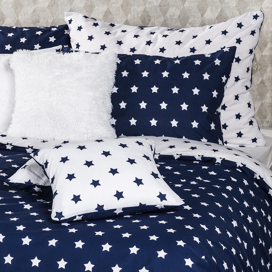 Produktové foto 4Home Bavlněné povlečení Stars Navy blue, 140 x 220 cm, 70 x 90 cm