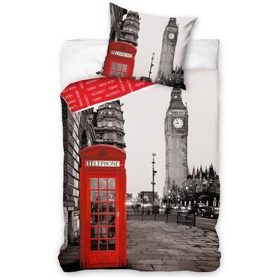 Bavlněné povlečení Londýn Telefonní budka, 140 x 200 cm, 70 x 90 cm