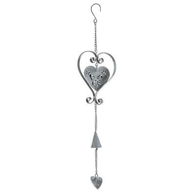 Závěsná kovová dekorace srdce, šedá