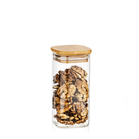 Recipient de sticlă 4Home pentru alimente cu   capac Bamboo, 300 ml