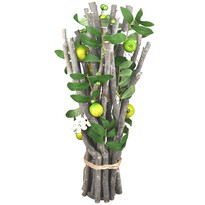 Ratanová dekorace s lístky a jablíčky, 45 cm