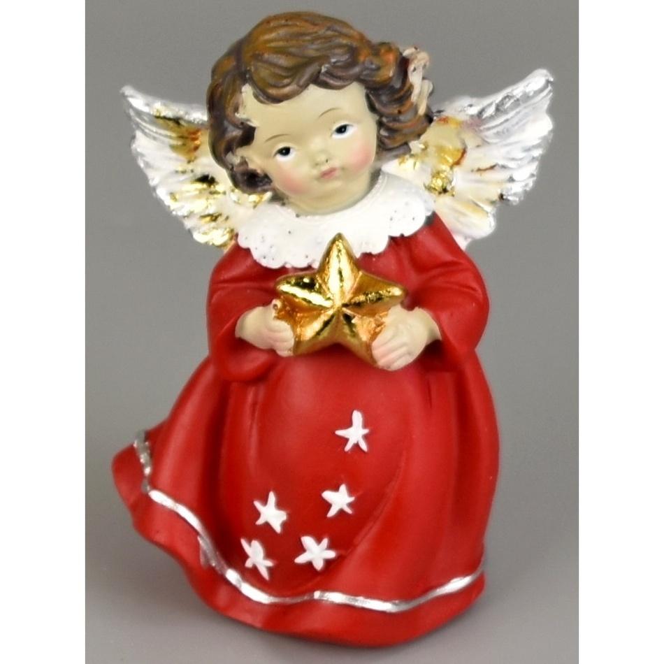 Vánoční andílek s hvězdou, 10 cm