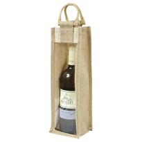 Bellatex Jutová taška na láhev s průhledem, 35 x 11 x 11 cm