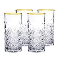 Mäser 4dílná sada sklenic na long drink Timeless Golden Touch, 295 ml