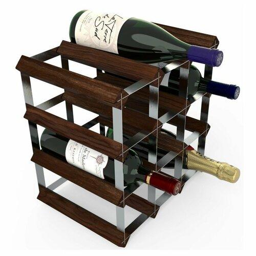 Stojan na víno RTA na 12 fliaš, tmavá borovica - pozinkovaná oceľ / rozložený