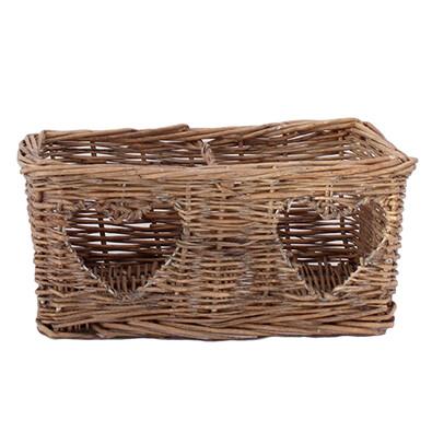 Proutěný košík se srdíčkem hnědý