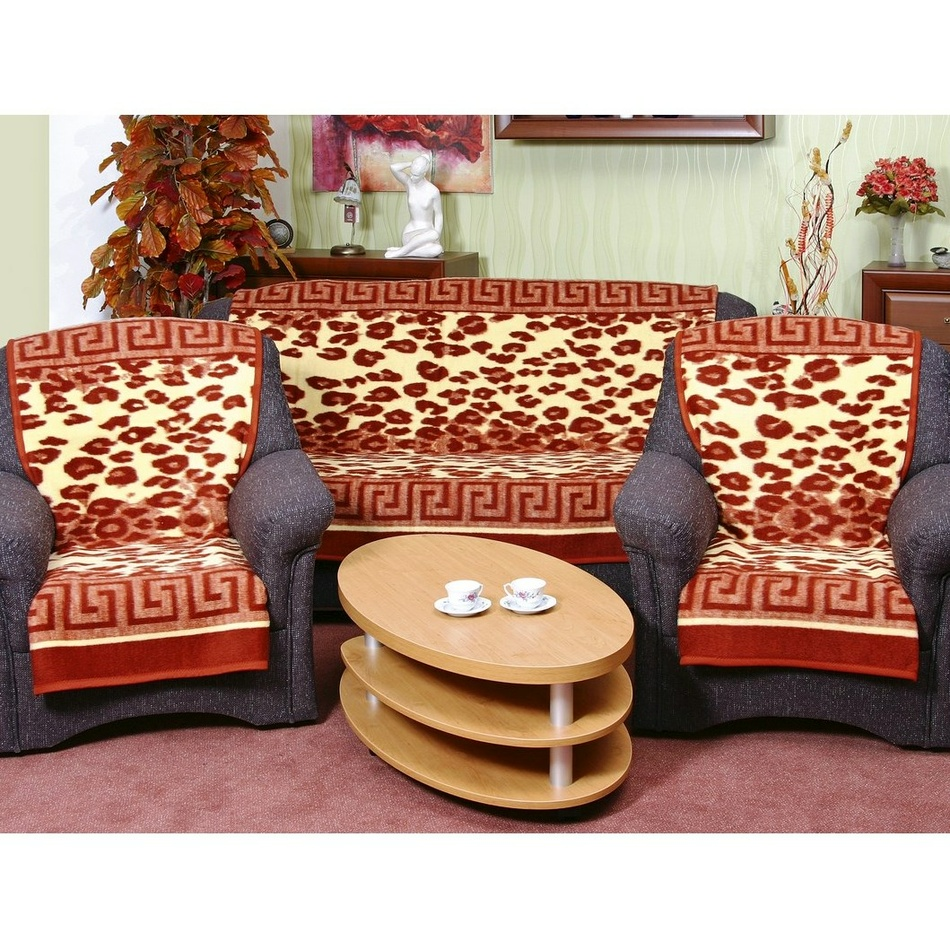 Prikrývky na sedaciu súpravu Karmela Leopard terra, 150 x 200 cm, 2 ks 65 x 150 cm