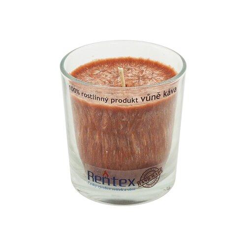 Palmová vonná sviečka v skle káva