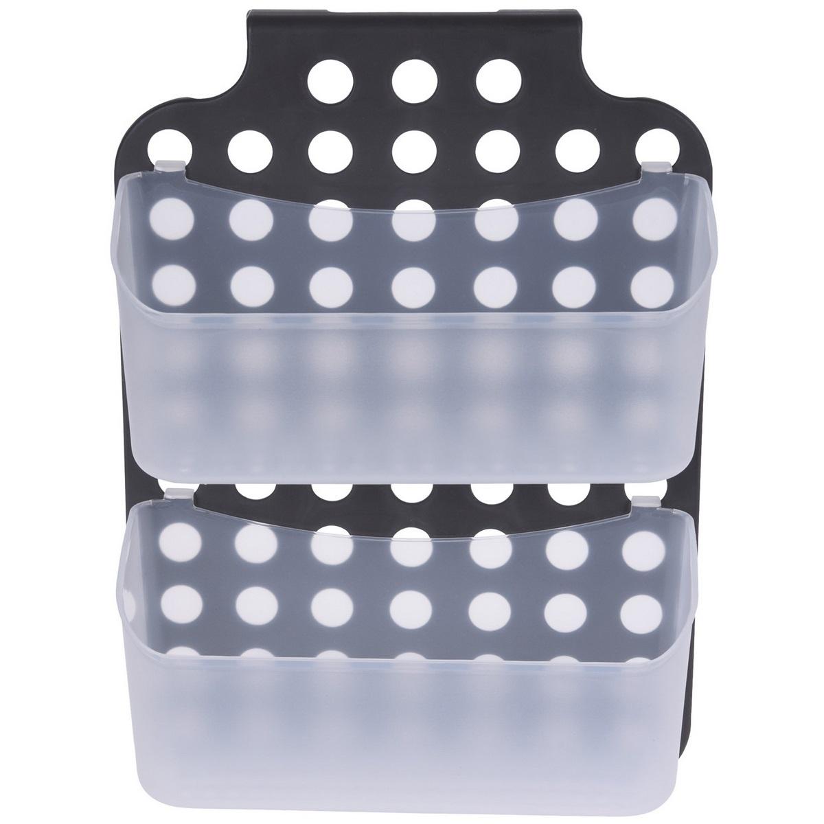 Kúpeľňový závesný košík, sivá, 36 x 25 x 9 cm