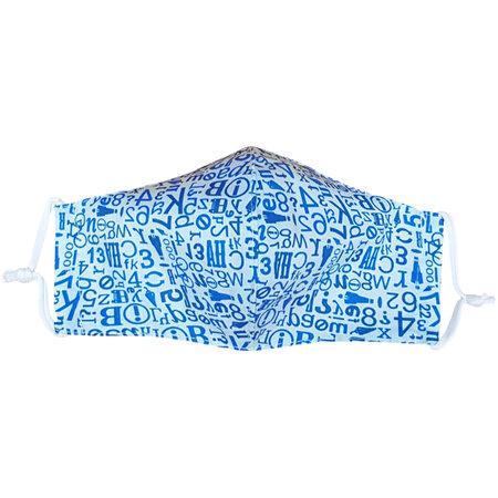Ústní bavlněná rouška Písmenka modrá medium