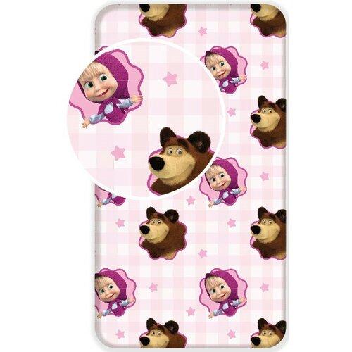 Jerry Fabrics Dětské bavlněné prostěradlo Máša a Medvěd, 90 x 180 cm