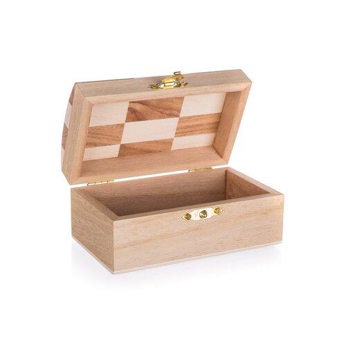 Szkatułka drewniana Chess, 12 x 7 x 6 cm