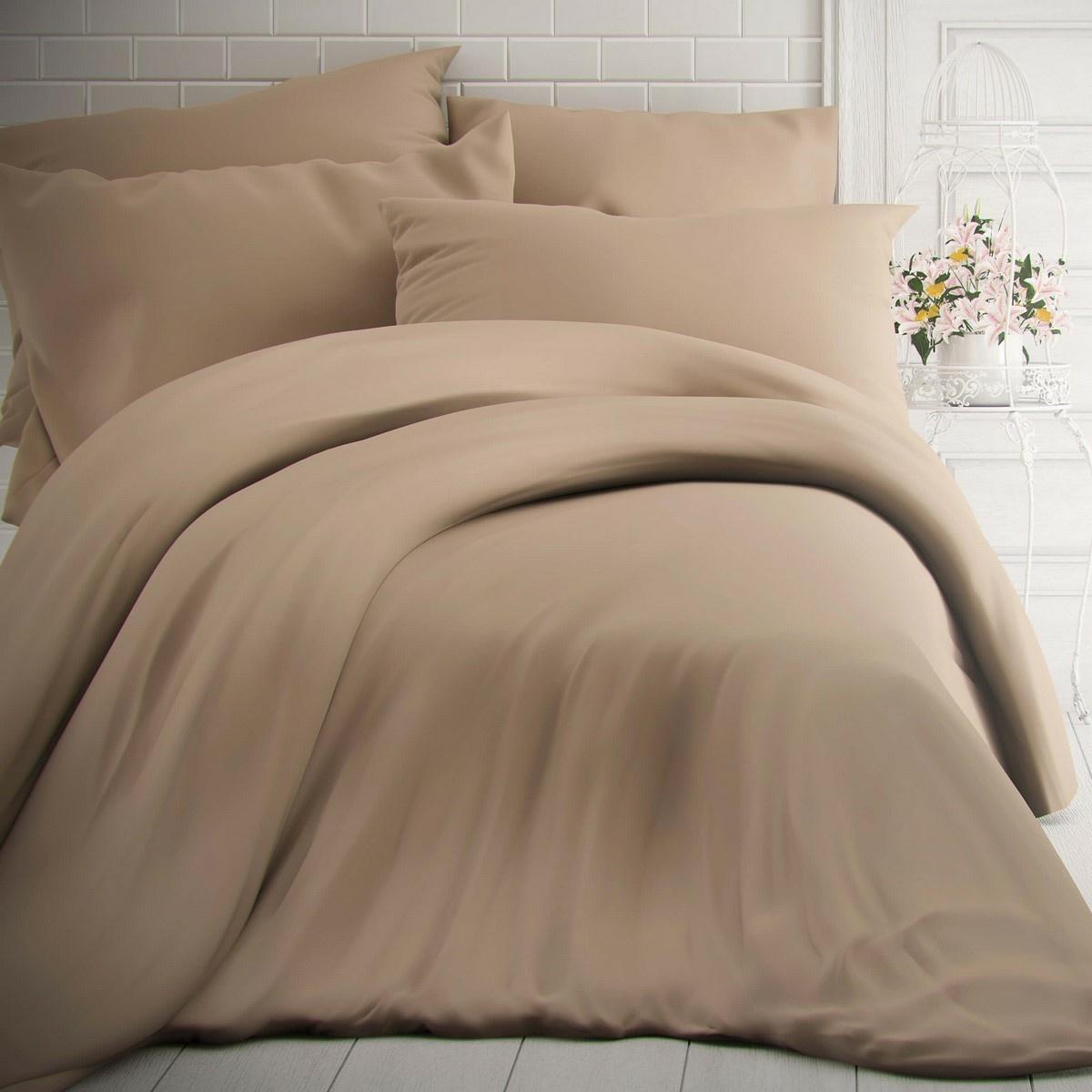 Kvalitex Bavlnené obliečky béžová, 240 x 200 cm, 2 ks 70 x 90 cm