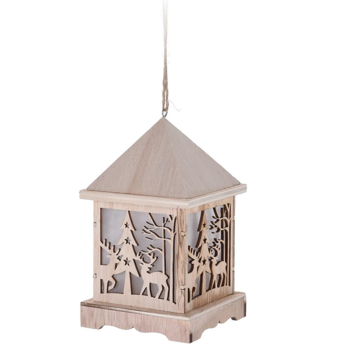 Dřevěná LED lucerna Pizzoli, 9,5 x 16,5 cm