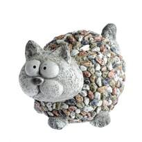 Záhradná dekorácia Mačka s kamienkami, 26,5 x 20 x 20 cm
