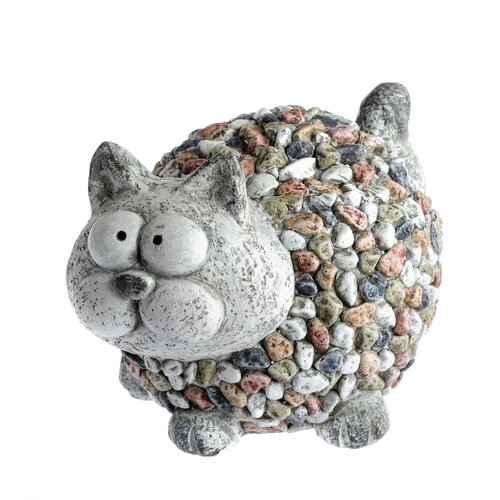 Zahradní dekorace Kočka s kamínky, 26,5 x 20 x 20 cm