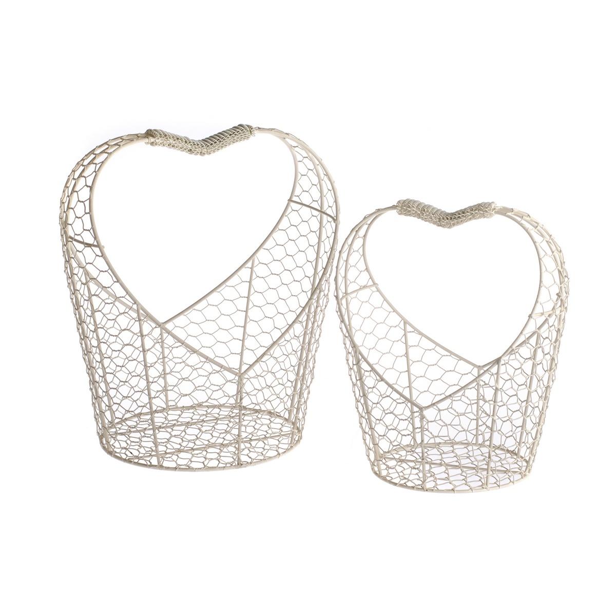 Sada kovových košíků Hearts, 2 ks