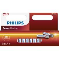 Philips LR03P12W/10 sada alkalických baterií AAA, 12 ks