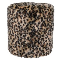 Taburet z umelej kožušiny Leopard, 31 x 34 cm