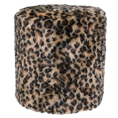 Koopman Taburet z umělé kožešiny Leopard, 31 x 34 cm