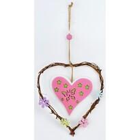 Dřevěná závěsná dekorace Srdce růžová, 20 cm