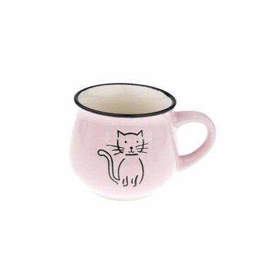 Keramický hrnek Kočka 230 ml, růžová
