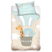 Lenjerie de pat din bumbac, pentru copii,Animale în balon, 100 x 135 cm, 40 x 60 cm