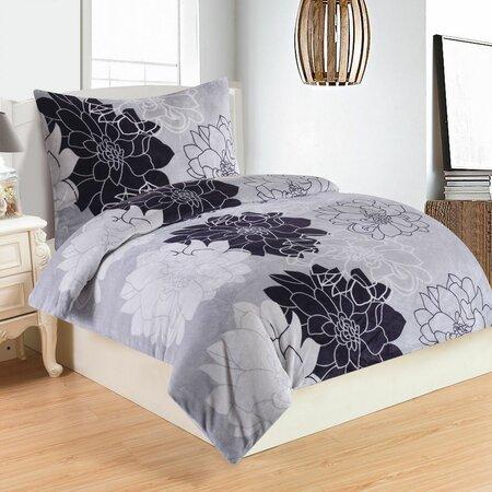 Lenjerie de pat Romance Lila, din micro-pluș, 140 x 200 cm, 70 x 90 cm