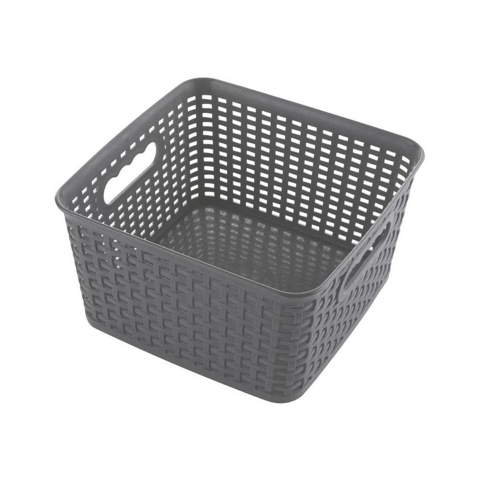 Štvorcový košík RATTAN CLASSIC 4,5 l, sivá