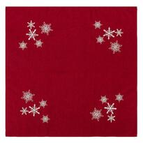 Hópelyhek karácsonyi abrosz, piros, 85 x 85 cm