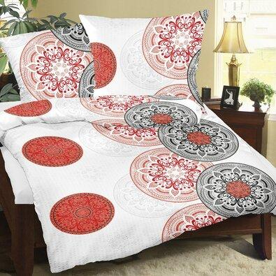 Bellatex Krepové obliečky Mandala červená, 140 x 220 cm, 70 x 90 cm