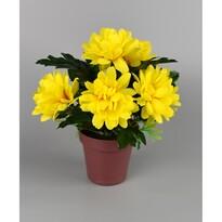 Umělá květina Chrysantéma v květináči 16 cm, žlutá