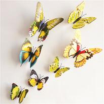 Naklejki 3D motyle z magnesem żółty, 12 szt.