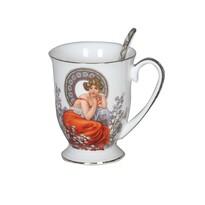 Kubek porcelanowy z łyżeczką Alfons Mucha 280 ml w pudełku prezentowym
