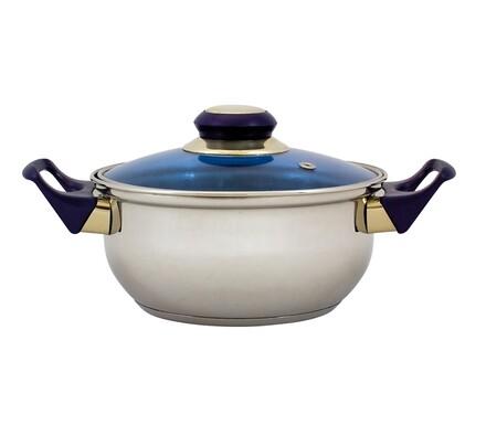 Nerezový hrnec s modrou poklicí, 23,5 x 13,5 cm