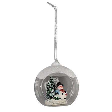 Hóember karácsonyi függeszthető dekoráció, átlátszó, átmérő: 8,5 cm