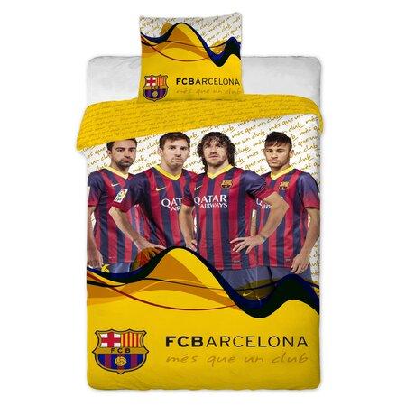 Pościel bawełniana FC Barcelona players Yellow, 140 x 200 cm, 70 x 90 cm